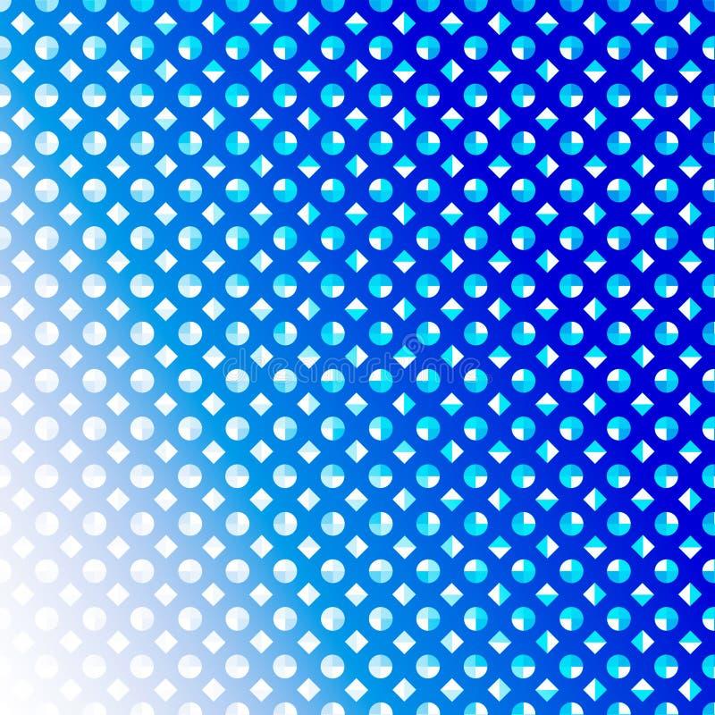 Zusammenfassungs-nahtlose blaue Diamanten und Kreise in blauem Hintergrund Gradated vektor abbildung