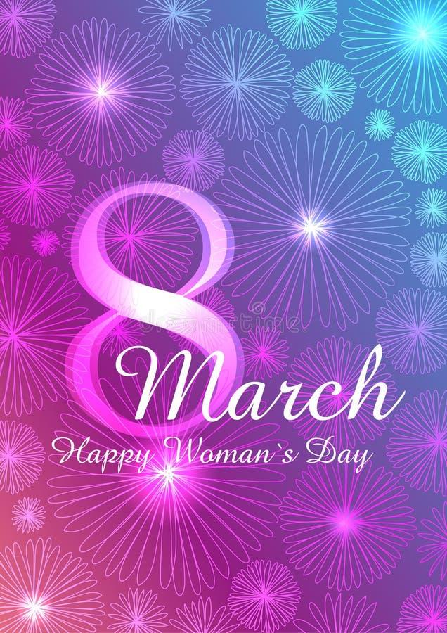 Zusammenfassungs-Rosa-blaue Blumengrußkarte - der Tag der internationalen glücklichen Frauen - 8. März Feiertag, vektor abbildung