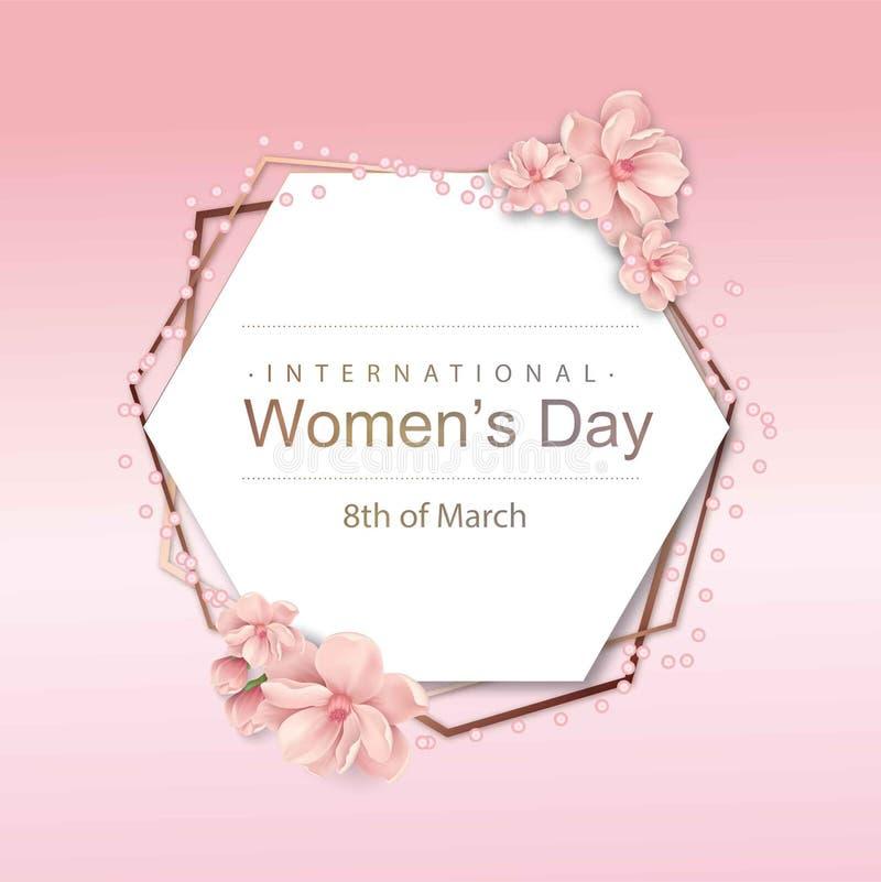 Zusammenfassungs-Rosa-Blumengrußkarte - internationaler glücklicher Tag der Frauen-s - 8. März Feiertagshintergrund lizenzfreie abbildung