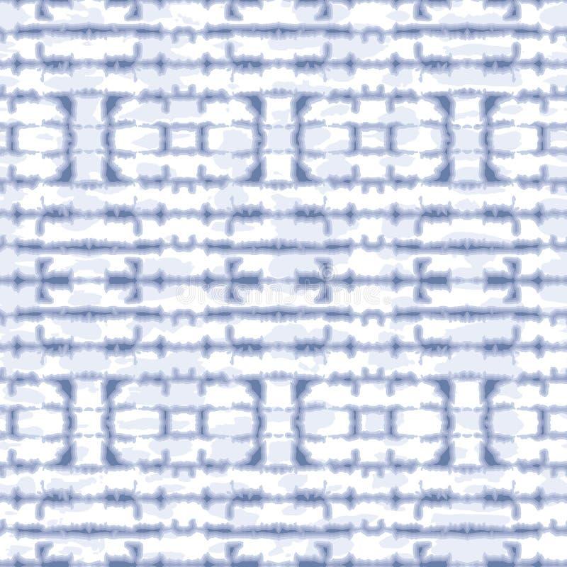 Zusammenfassungs-streift horizontale widergespiegelte Indigo-Bindung-Färbung Shibori auf weißer Backrgound-Vektor-nahtlosem Muste vektor abbildung