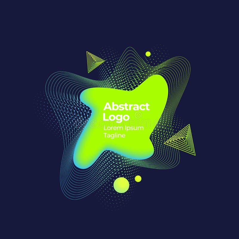 Zusammenfassungs-Vektor-geometrische fl?ssige Fahne, Emblem oder Logo Template Kreative Dekoration Memphis Style Dunkler Hintergr lizenzfreie abbildung