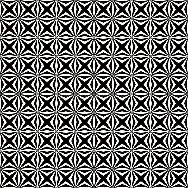Zusammenfassungs-weißes geometrisches nahtloses mit Blumenmuster im schwarzen Hintergrund stock abbildung