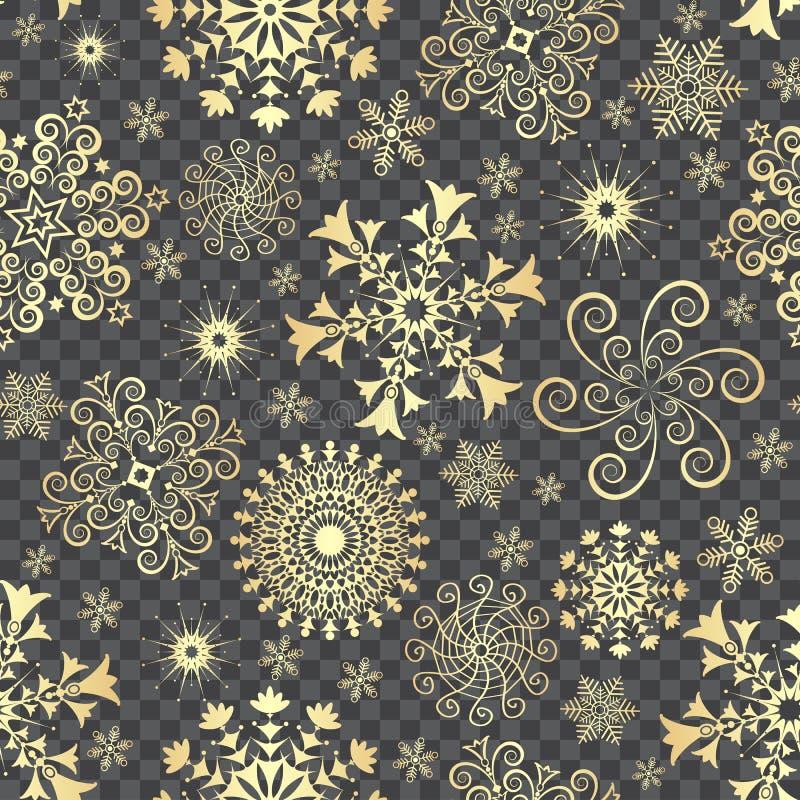 Zusammenfassungs-Weihnachtsnahtloses Muster mit goldenen Schneeflocken stock abbildung