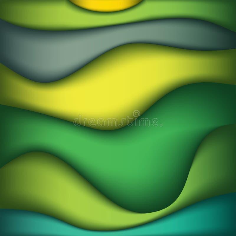 Zusammenfassungs-Wellen der Farbhintergrund-Illustration stockfotos