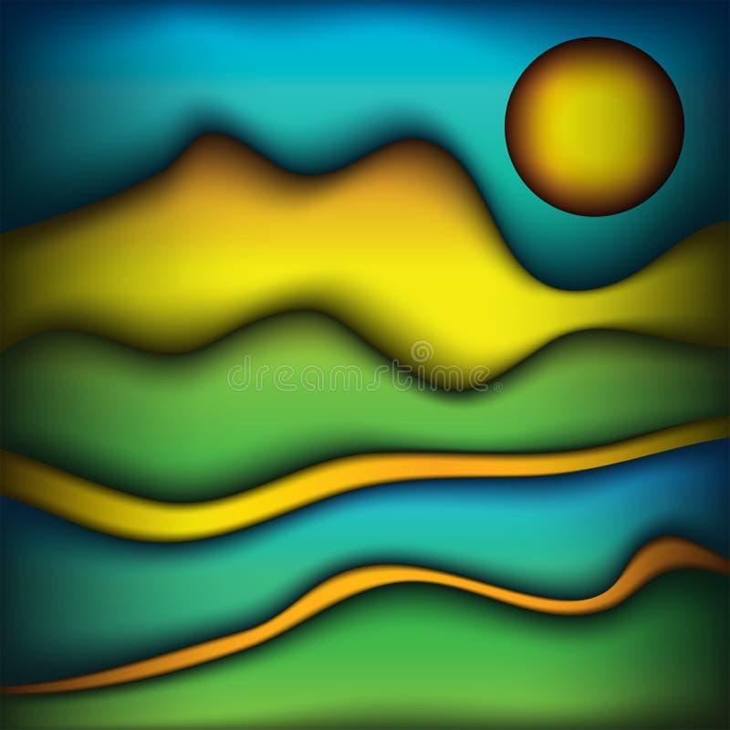 Zusammenfassungs-Wellen Farbder szenischen Landschaftshintergrund-Illustration lizenzfreie abbildung