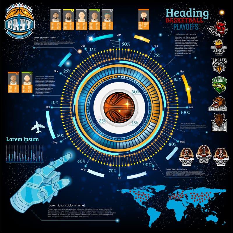 Zusammenfassungsbasketball infographic in der Computerspielart Vektorhintergrund mit Informationen, Diagramm stock abbildung
