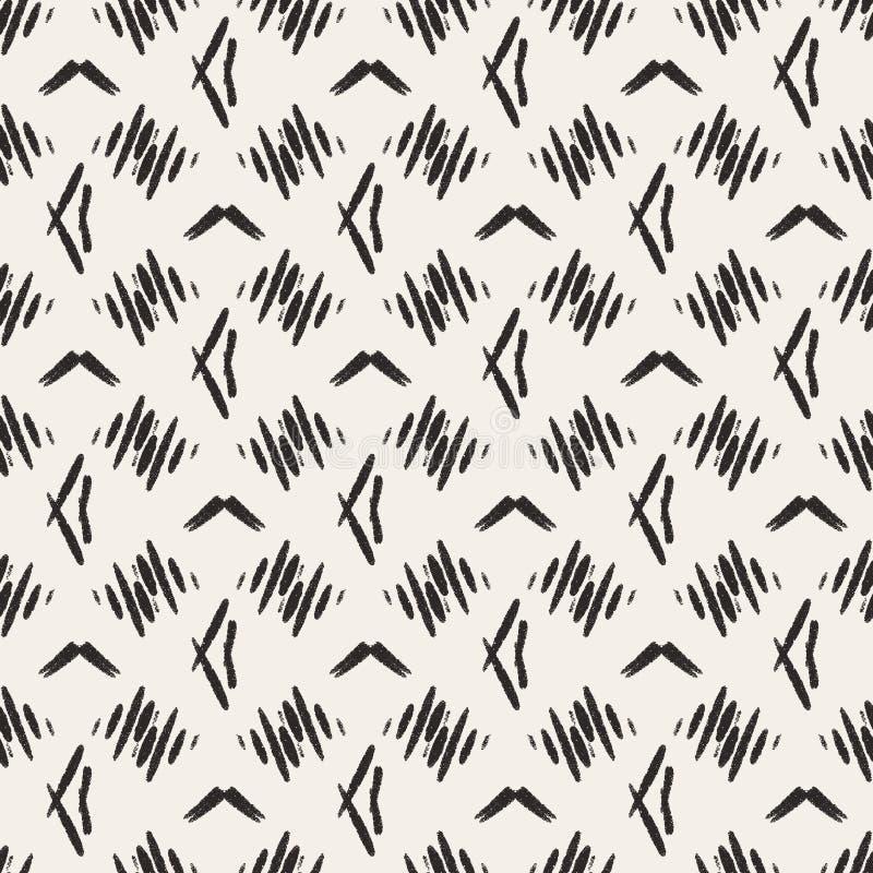 Zusammenfassungsbeige schwarzes Hauptdekormuster mit einfachem geometrischem Druck Pastellbettwäschefliese Einfaches Stammes- Des lizenzfreie abbildung