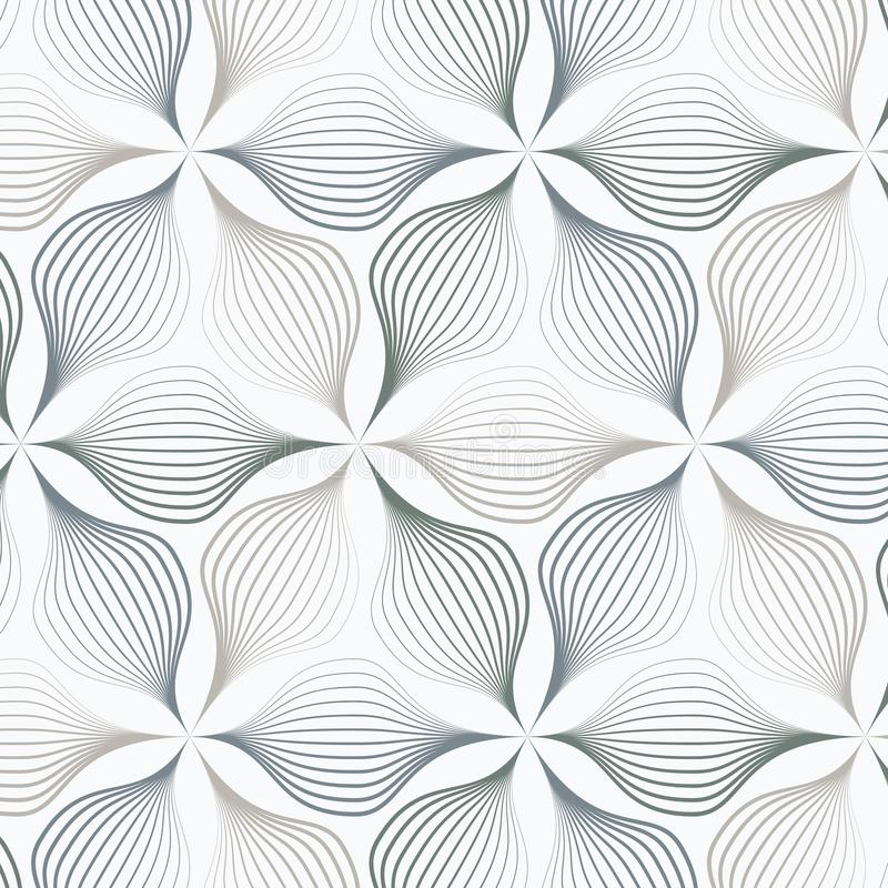 Zusammenfassungsblätter oder Blume oder Flora in der unterschiedlichen Größe von Linien in jedem Gegenstand auf Hexagonform Säube vektor abbildung