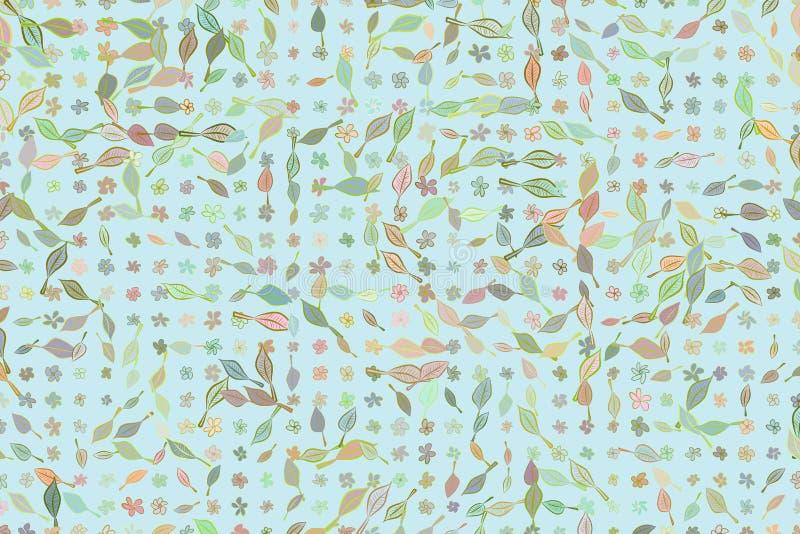Zusammenfassungsblatt- u. -blumenillustrationshintergrundmuster Tapete, Art, unordentliches u. Vektor stock abbildung