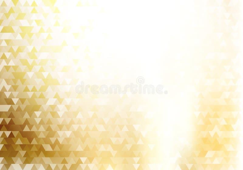 Zusammenfassungsgoldgeometrischer Hippie-Dreieckmusterhintergrund und -beschaffenheit mit Lichteffekt vektor abbildung