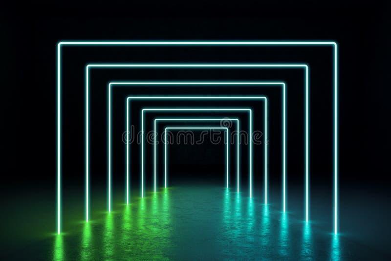 Zusammenfassungsgrün-Neonhalle lizenzfreie abbildung