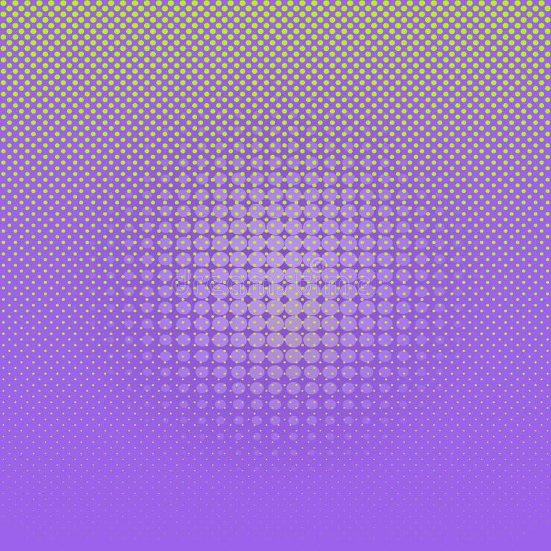 Zusammenfassungshellgrüne komische Halbtonpunkte auf violettem Hintergrund lizenzfreie abbildung