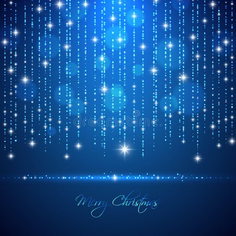 Zusammenfassungslichthintergrund der frohen Weihnachten mit fallendem glühendem d vektor abbildung