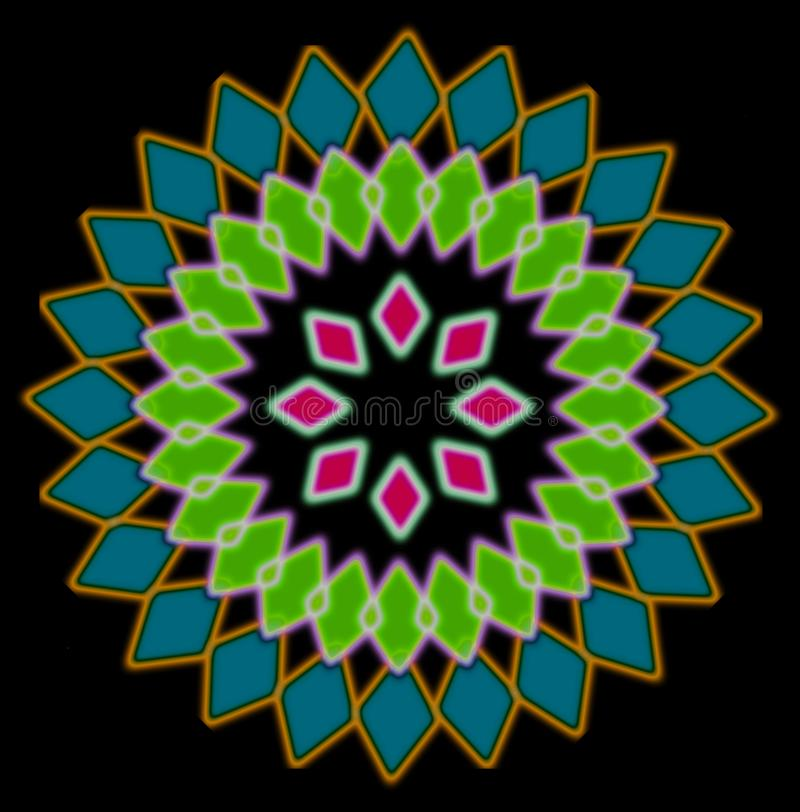 Zusammenfassungsmehrfarbiges Radialmuster, schwarzer Hintergrund vektor abbildung