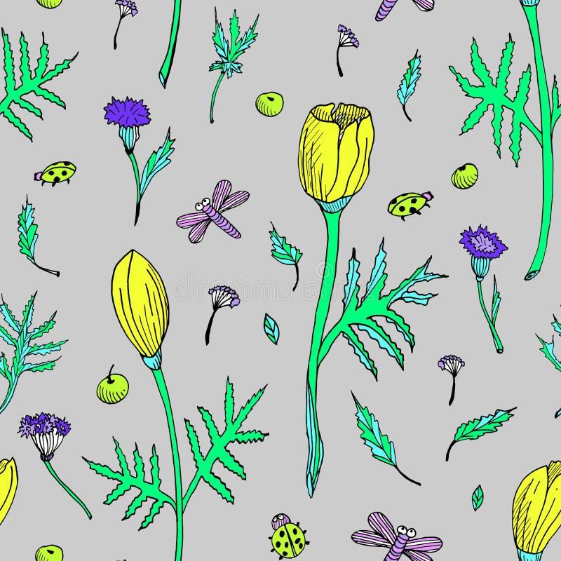 Zusammenfassungsnahtloses Blumenmuster mit Tulpen, Blättern und Kräutern Handgezogene farbige Blumen auf grauem Hintergrund botan stock abbildung