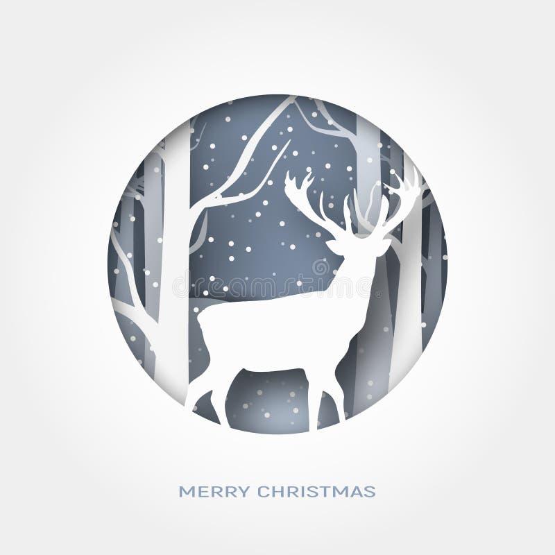 Zusammenfassungspapier der frohen Weihnachten 3d schnitt Illustration des Schnees und Rotwild im Wald Vector Schablone stockbild