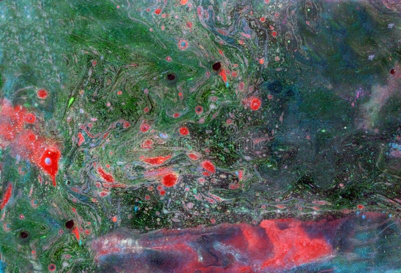 Zusammenfassungsrote grün-blaue Marmorbeschaffenheit, Acrylkunst vektor abbildung