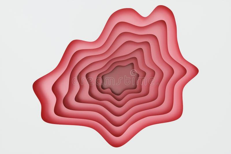 Zusammenfassungsroter Papierschnitthintergrund, PapierSchneideschablone Papiereffekt der entlastung 3D f?r Ihren Entwurf, Darstel lizenzfreie abbildung