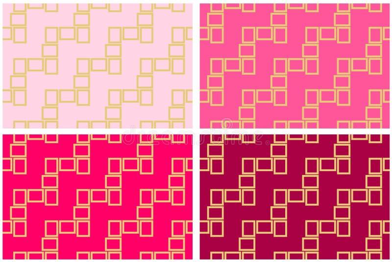 Zusammenfassungssatz von vier nahtlosen Musterbeschaffenheiten von goldenen rechteckigen Rahmen über Rosa schattiert Hintergrunds lizenzfreie abbildung