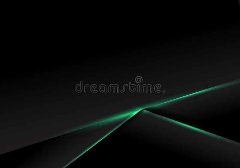 Zusammenfassungsschablonenschwarz-Rahmenplan mit grünem Neonlicht auf dunklem Hintergrund Futuristisches Technologie Konzept lizenzfreie abbildung