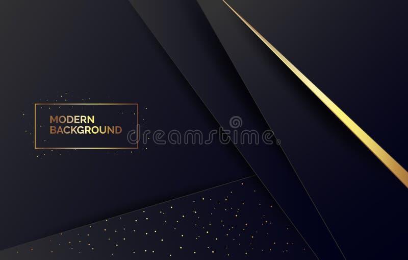 Zusammenfassungsschwarzer Papierhintergrund mit goldenem Funkeln, Fahne für Darstellung, Landungsseite, Website stock abbildung