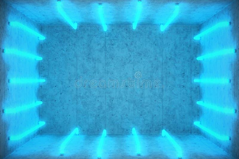 Zusammenfassungstoiletteninnenraum der Illustrations-3D mit blauen Neonröhren Futuristischer Architekturhintergrund Kasten mit Be lizenzfreie abbildung