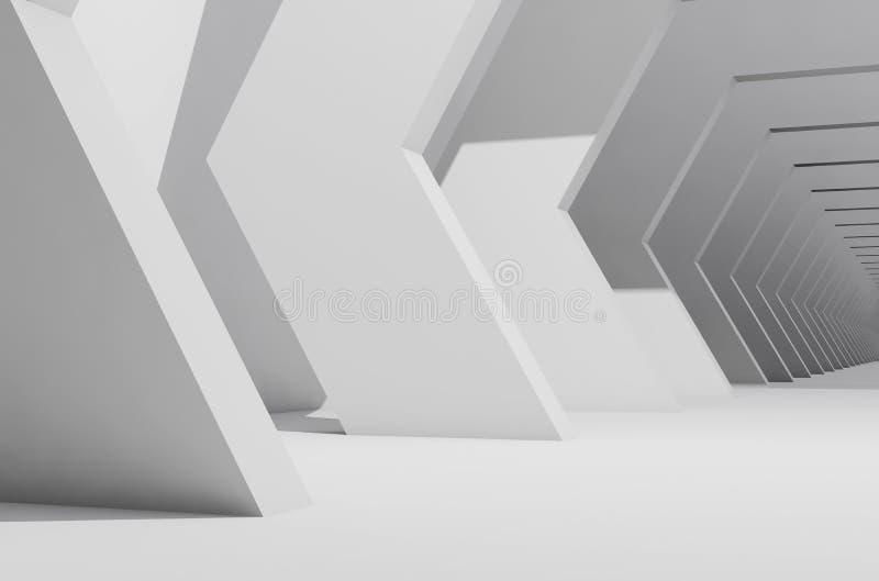 Zusammenfassungsweißer Innenhintergrund, leere Halle lizenzfreie abbildung