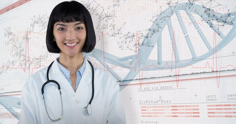 Zusammengesetztes Bild überzeugten Doktors stehend gegen grauen Hintergrund stockfoto