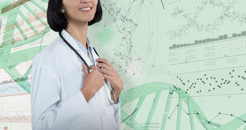 Zusammengesetztes Bild überzeugten Doktors stehend gegen grauen Hintergrund stockfotografie