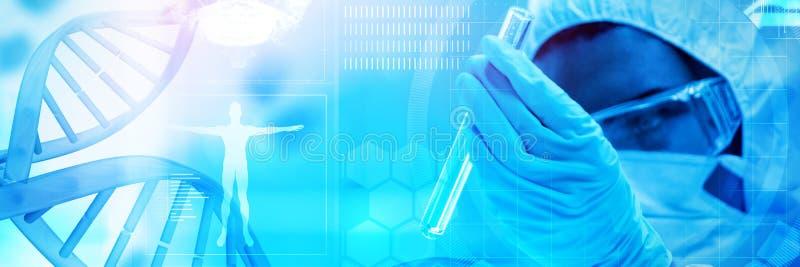 Zusammengesetztes Bild blauen DNA-Helixes mit medizinischem Hintergrund stockfotografie