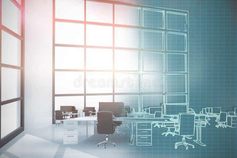 Zusammengesetztes Bild 3d der Illustration der Stühle durch Schreibtische im Büro stock abbildung