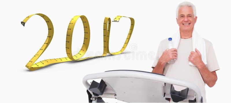 zusammengesetztes Bild 3D des älteren Mannes auf der Tretmühle lizenzfreies stockfoto