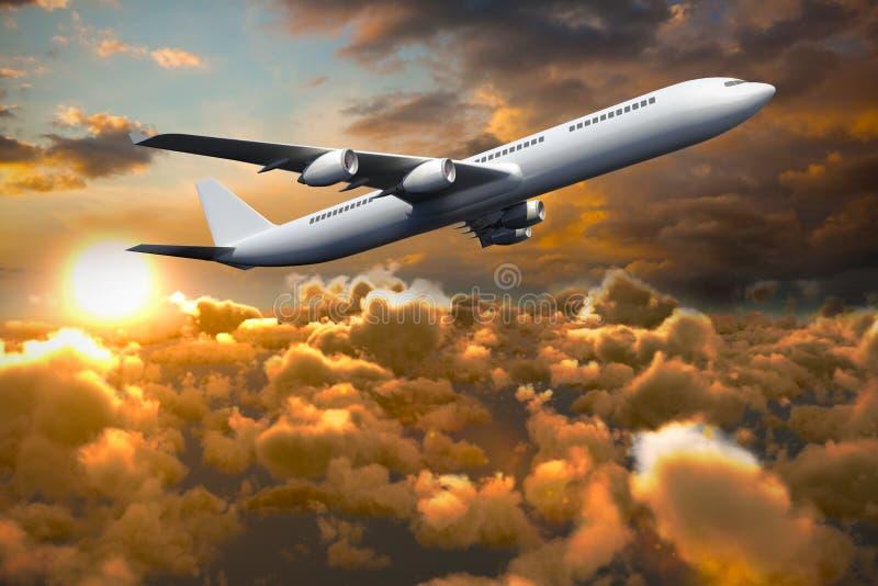 Zusammengesetztes Bild 3d des grafischen Flugzeuges stock abbildung