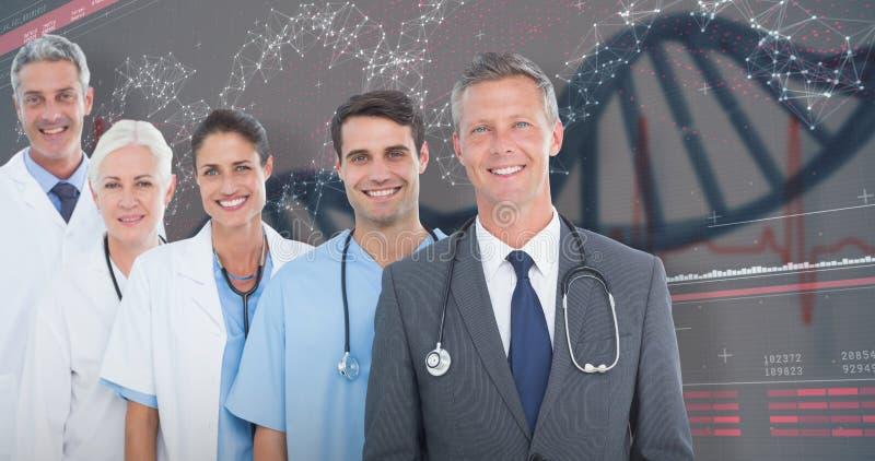 zusammengesetztes Bild 3D des Porträts des überzeugten Ärzteteams stockbilder