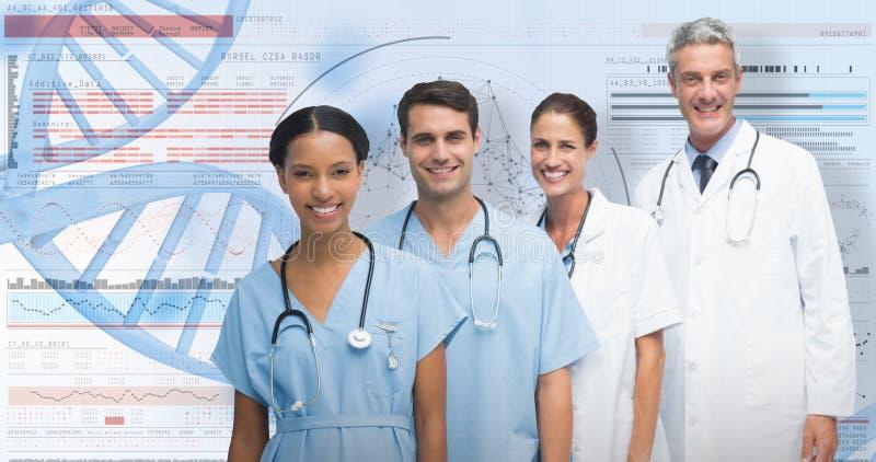 zusammengesetztes Bild 3D des Porträts des überzeugten Ärzteteams lizenzfreie stockbilder