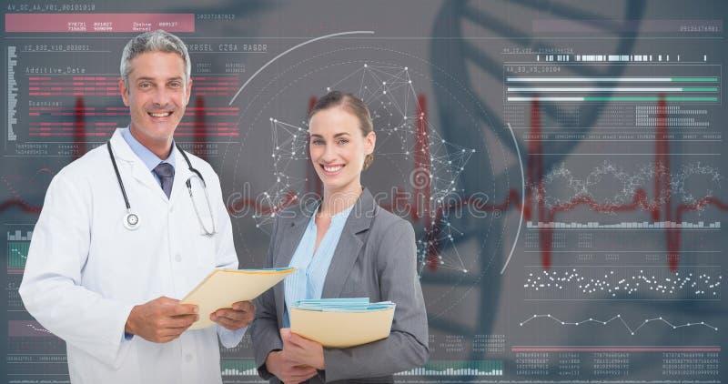 zusammengesetztes Bild 3D des Porträts des Mannes und der Ärztinnen mit ärztlichen Attesten lizenzfreie stockbilder