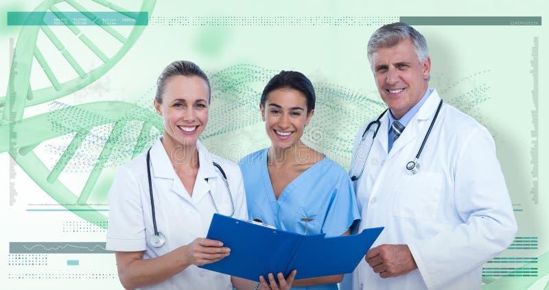 zusammengesetztes Bild 3D des Porträts glücklichen Doktoren und der Krankenschwester mit Klemmbrett stockfotografie