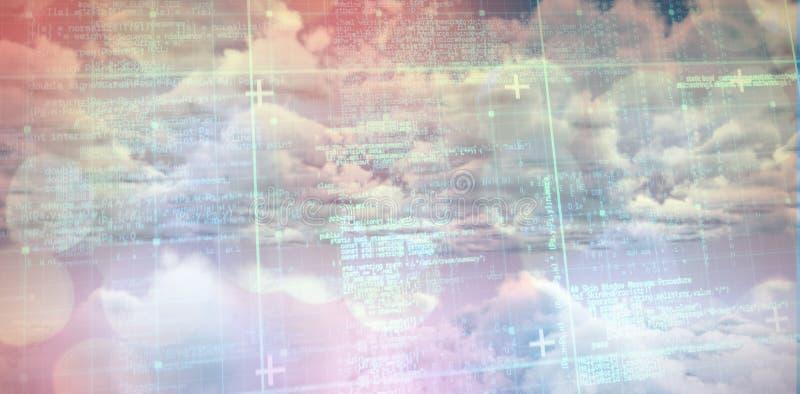 Zusammengesetztes Bild der blauen Matrix und der Codes lizenzfreie abbildung