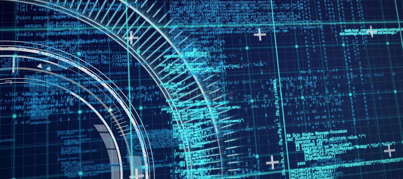 Zusammengesetztes Bild der blauen und grauen Matrix und der Codes stock abbildung