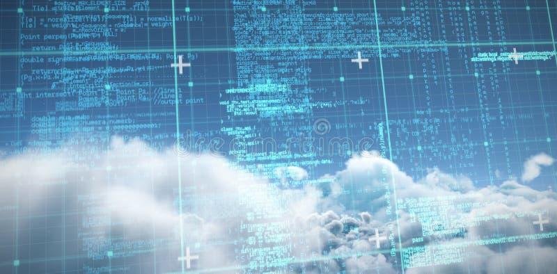 Zusammengesetztes Bild der blauen und grauen Matrix und der Codes lizenzfreie abbildung