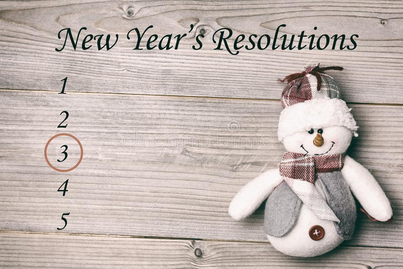 Zusammengesetztes Bild der Entschließungsliste der neuen Jahre stockfotografie