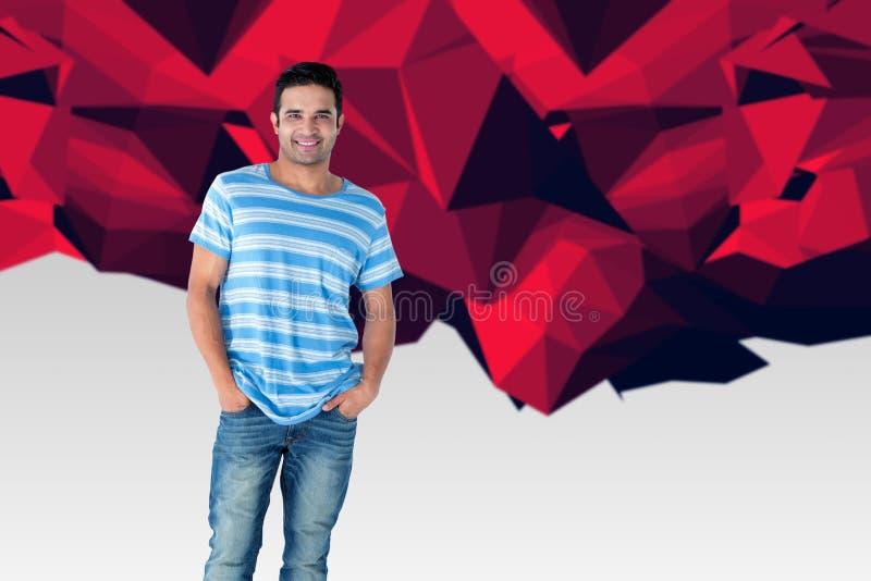 Zusammengesetztes Bild der Ganzaufnahme der stehenden Hände des gutaussehenden Mannes in den Taschen lizenzfreie stockfotos