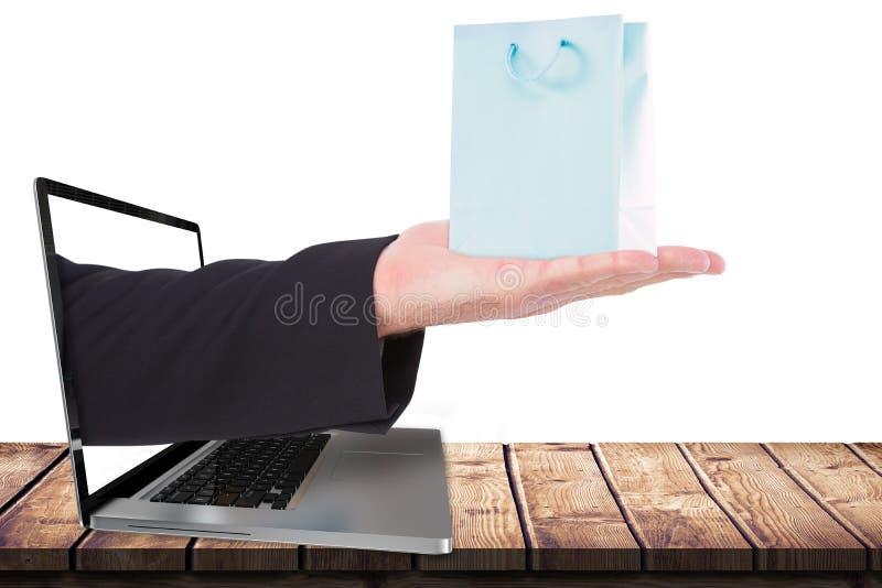 Zusammengesetztes Bild der Geschäftsmannholding teilen in der Darstellung aus stockfoto