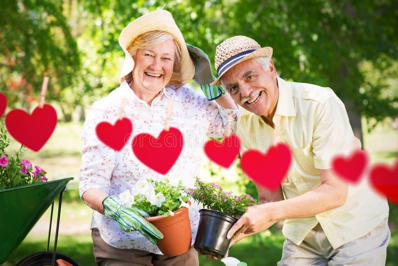 Zusammengesetztes Bild der glücklichen älteren Paargartenarbeit stockfotografie