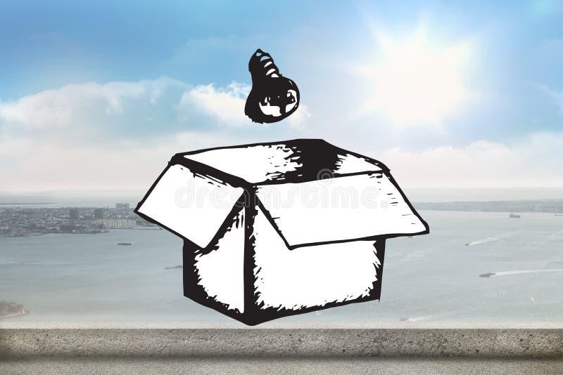 Zusammengesetztes Bild der Glühlampe und Kasten kritzeln lizenzfreies stockbild