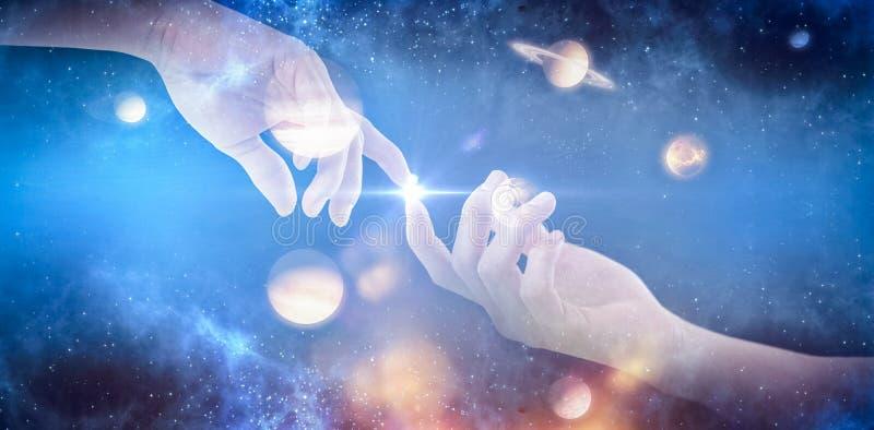 Zusammengesetztes Bild der Hand des Mannes vortäuschend, einen unsichtbaren Gegenstand 3D zu halten lizenzfreie abbildung
