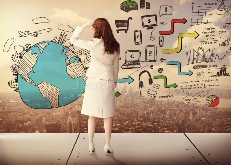 Zusammengesetztes Bild der hinteren Ansicht der Geschäftsfrau lizenzfreie stockfotografie