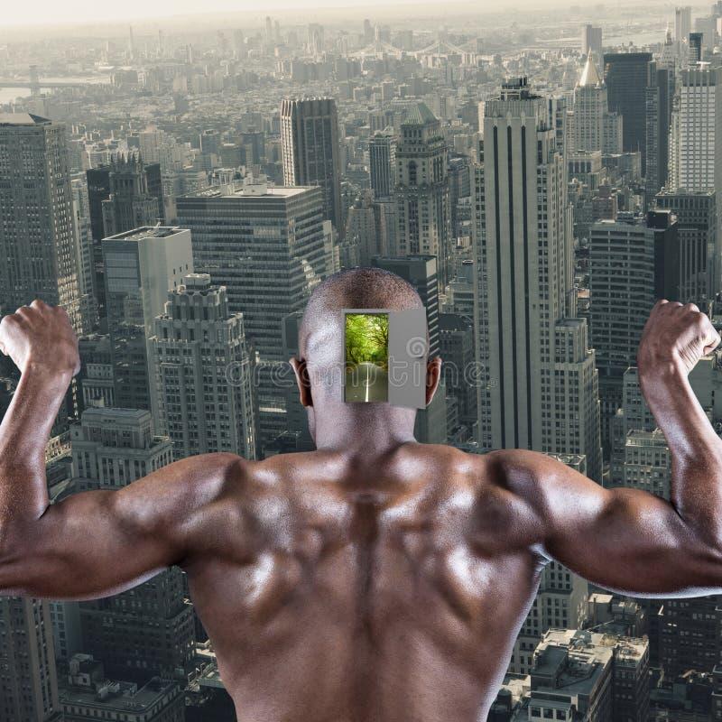 Zusammengesetztes Bild der hinteren Ansicht der muskulösen Athletenaufstellung stockbilder
