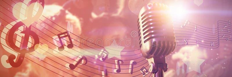 Zusammengesetztes Bild der Nahaufnahme des Mikrofons stock abbildung