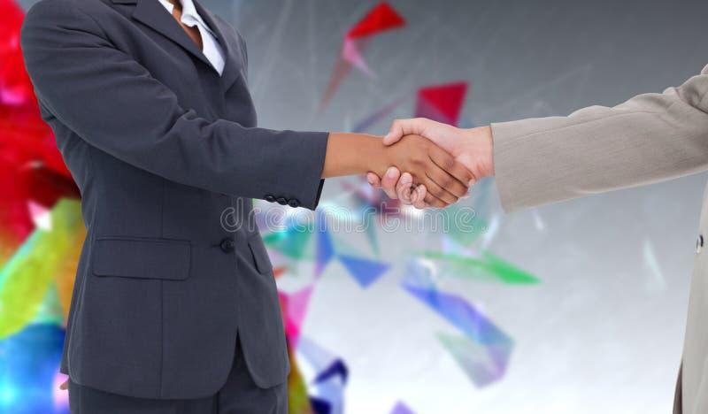 Zusammengesetztes Bild der Seitenansicht Handdes rüttelns lizenzfreies stockfoto